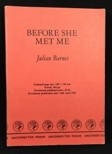 Before She Met Me Uncorrected Proof (Cape, 1982): Cover