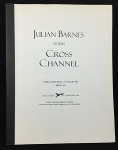Cross Channel Uncorrected Proof Galley (Knopf, 1996): Cover