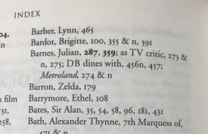 Index of Julian Barnes Entries