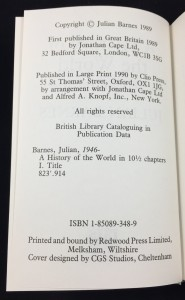A History of the World in 10½ Chapters (ISIS, 1990; Large Print): Copyright