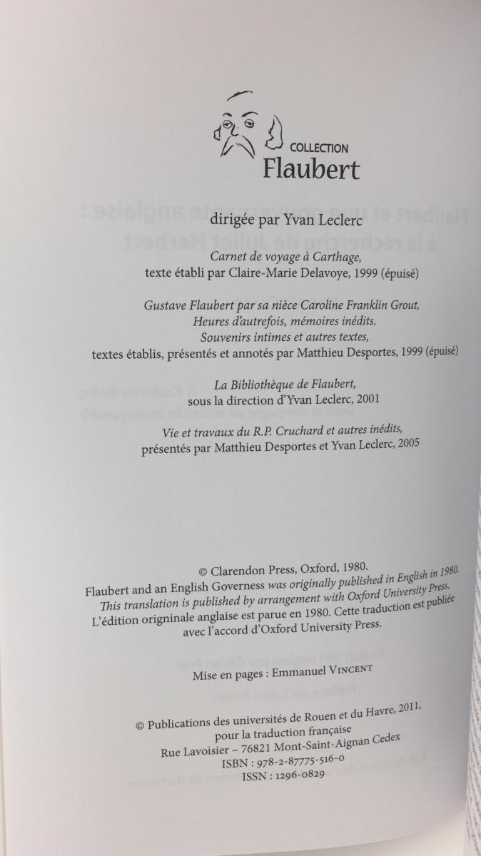 Notes on this edition flaubert et une gouvernante anglaise la recherhe de juliet herbert hermia oliver mont saint aignan publications des universit s