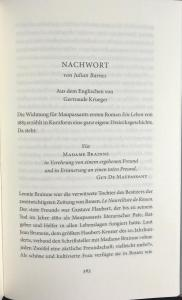 Beginning of Nachwort by Julian Barnes
