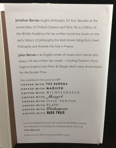 Coffee with Aristotle -- Introduction by Julian Barnes (Duncan Baird, 2008): Back Flap