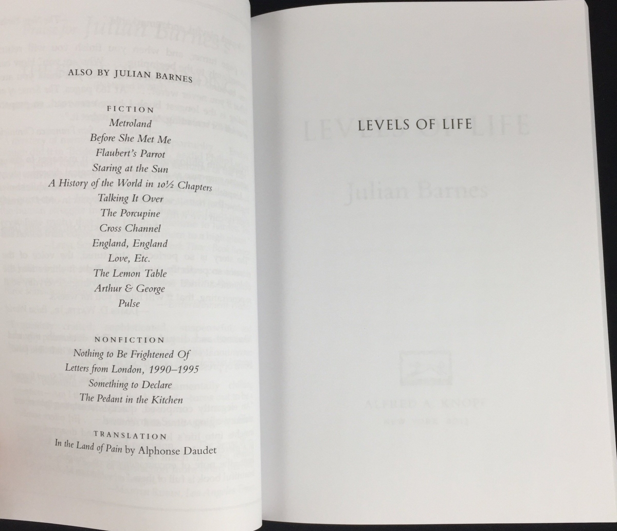 Levels of Life   Uncorrected Proof (Alfred A. Knopf, 2013) – Julian ...