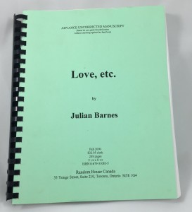 Love, etc Galley Proof: Cover