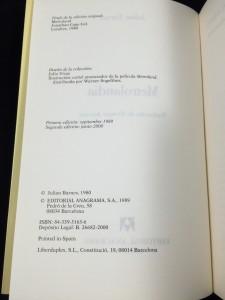 Metrolandia (Anagrama, 1989): Copyright Page