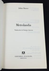 Metrolandia (Anagrama, 1989): Title Page