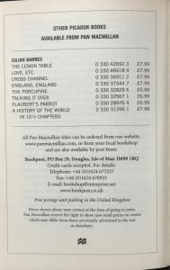 Advertisement for Additional Julian Barnes Titles