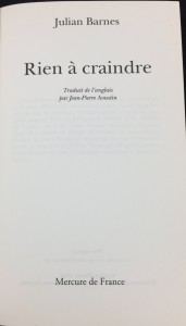 Rien à craindre | Nothing to Be Frightened of (Mercure de France, 2009; French): Title Page