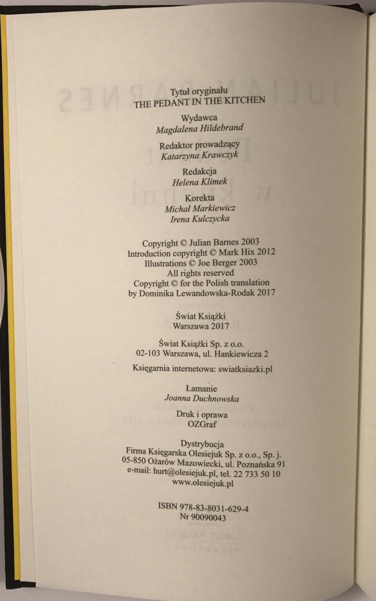 Dominika Lewandowska-Rodak – Julian Barnes Bibliography