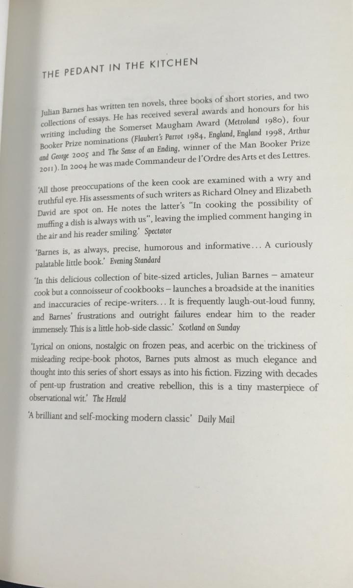 The Pedant in the Kitchen (Atlantic Books, 2013) – Julian Barnes ...