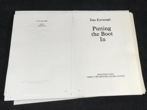 Putting the Boot In | Unbound Proof (Jonathan Cape, 1985; Author's Copy)