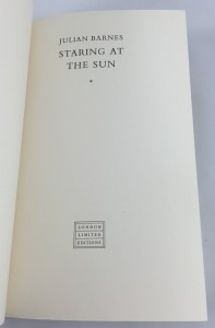 Staring at the Sun (London Limited Editions, 1986): Preliminary Title Page