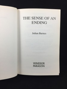 The Sense of an Ending (Windsor Paragon, 2011; Large Print): Title Page