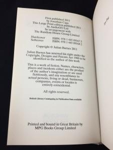 The Sense of an Ending (Windsor Paragon, 2011; Large Print): Copyright