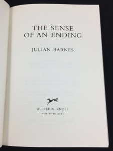 The Sense of an Ending | Blue U.S. Proof (Knopf, 2011): Title Page