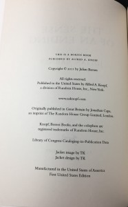 The Sense of an Ending | Blue U.S. Proof (Knopf, 2011): Copyright Page