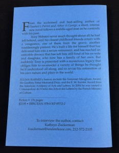 The Sense of an Ending | Blue U.S. Proof (Knopf, 2011): Back Cover