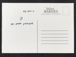 Back of Postcard for The Sense of an Ending by Julian Barnes